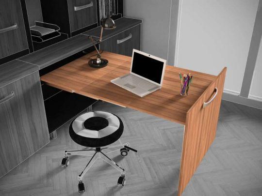 Anytime, sistema estraibile per tavoli con gamba fissa e pannello frontale
