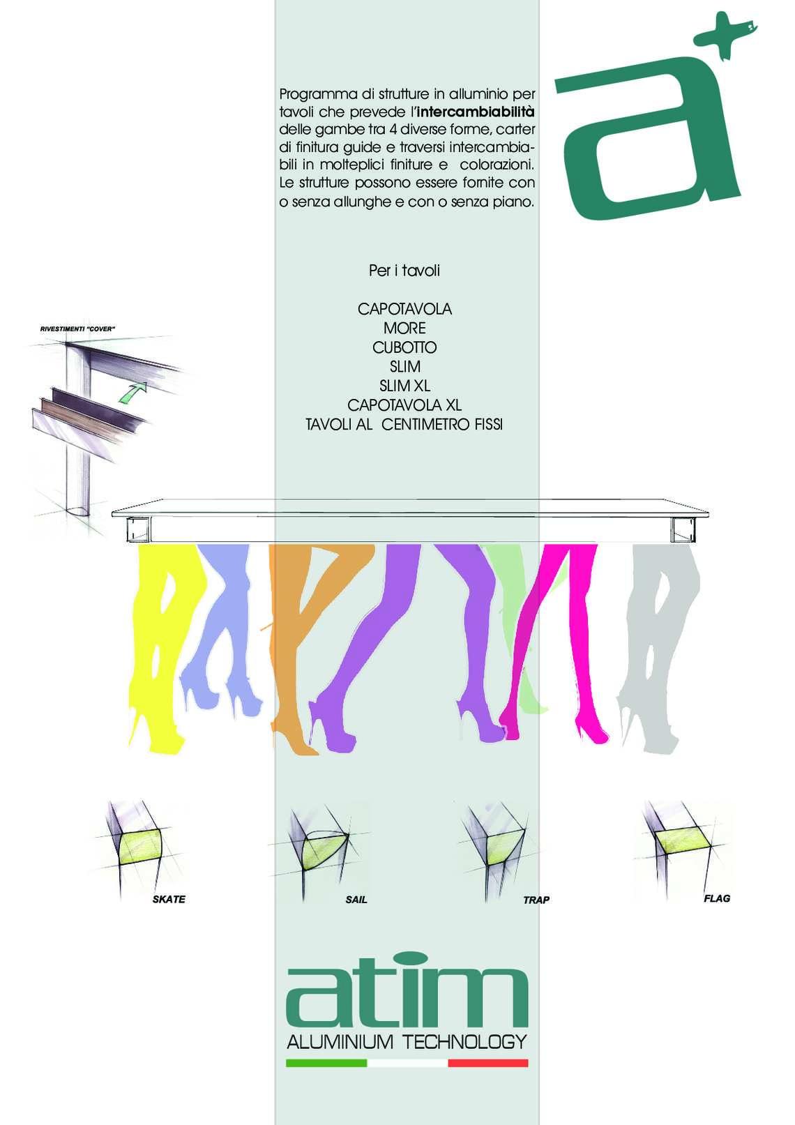 Catalogo intercambiabilità gambe tavoli di Atim