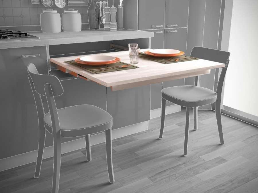 Dinner, sistema estraibile per tavoli senza gamba